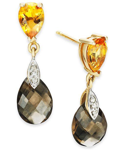 Macy's Multi-Gemstone (4-1/2 ct. t.w.) & Diamond (1/20 ct. t.w.) Drop Earrings in 14k Gold