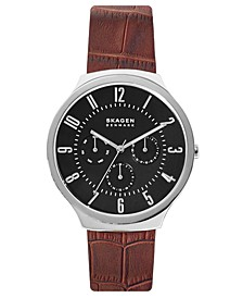 Men's Grenen Brown Leather Strap Watch 42mm