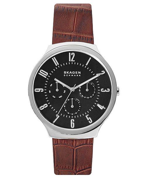 Skagen Men's Grenen Brown Leather Strap Watch 42mm