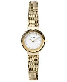 Skagen Womens Leonora Gold-Tone Stainless Steel Mesh Bracelet Watch 25mm SKW2800