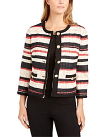 Striped Braided-Trim Jacket