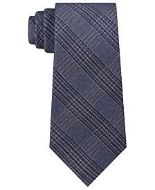 Calvin Klein Men's Graphite Classic Plaid Tie