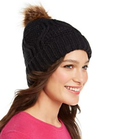 I.N.C. Cable-Shine Beanie with Faux-Fur Pom, Created for Macy's