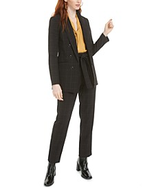 Faux-Double-Breasted Windowpane-Print Jacket, Tie-Neck Blouse & Windowpane-Print Tie-Waist Pants, Created for Macy's