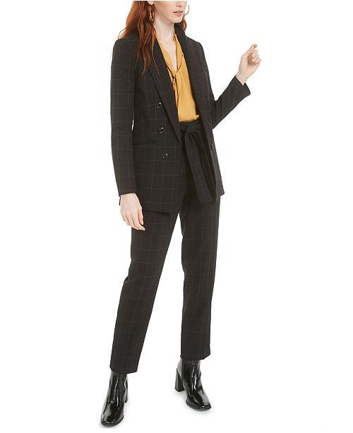 Bar III Faux-Double-Breasted Windowpane-Print Jacket, Tie-Neck Blouse & Windowpane-Print Tie-Waist Pants, Created for Macy's