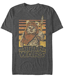 Star Wars Men's Classic Ewok Gradient Stripes Short Sleeve T-Shirt