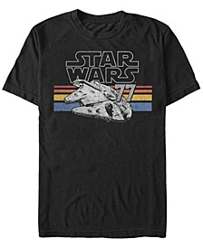 Men's Classic Retro Stripes Millennium Falcon Short Sleeve T-Shirt