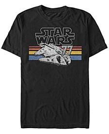Men's Classic Retro Stripes Millennium Falcon Short Sleeve T-Shirt