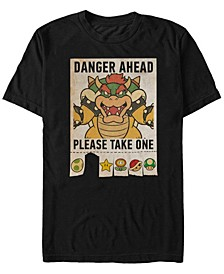 Men's Super Mario Bowser Danger Ahead Short Sleeve T-Shirt