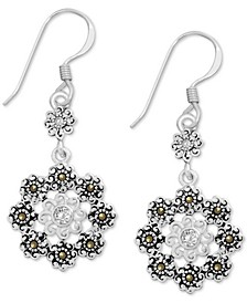 Genuine Swarovski Marcasite Crystal Flower Drop Earrings in Fine Silver-Plate
