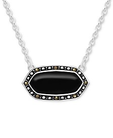 """Genuine Swarovski Marcasite Shapely Stone Pendant Necklace in Fine Silver-Plate, 16"""" + 2"""" extender (Also in Mother-of-Pearl, Reconstituted Turquoise & Paua Shell)"""
