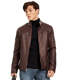 INC Men's Faux Leather Moto Jacket, Created for Macy's