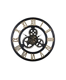 Round Spinning Gears Large Wall Clock