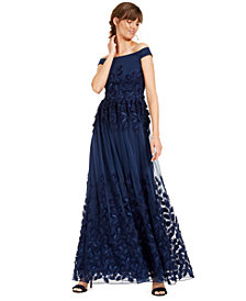 Adrianna Papell Off-The-Shoulder Embroidered Gown