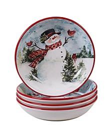Watercolor Snowman 4-Pc. Soup/Pasta Bowl