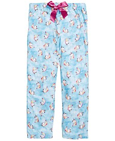 Max & Olivia Little & Big Girls Unicorn-Print Pajama Pants, Created for Macy's