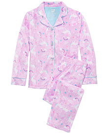 Max & Olivia Little & Big Girls  2-Pc. Unicorn-Print Pajamas Set