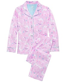 Max & Olivia Little & Big Girls  2-Pc. Unicorn-Print Pajamas Set
