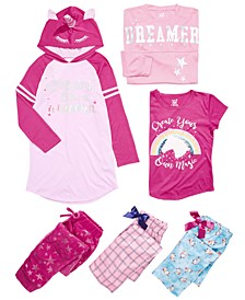Little & Big Girls Unicorn Nightgown, Pajama Tops & Bottoms Separates