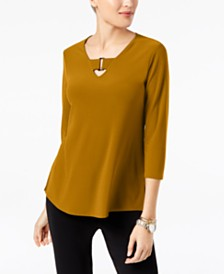 Alfani Petite Buckle-Detail Tunic, Created for Macy's