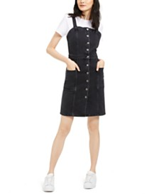 OAT Button-Front Fitted Overall Dress