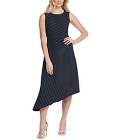 DKNY Striped Asymmetrical Dress