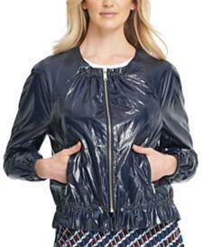 DKNY Faux-Leather Drawstring Bomber Jacket