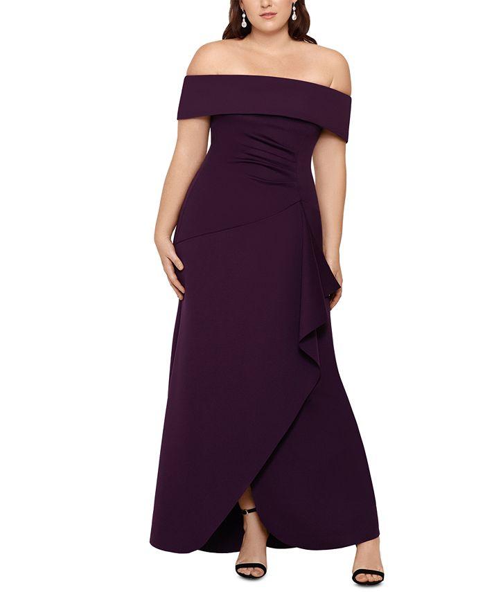 XSCAPE - Plus Size Off-The-Shoulder Gown