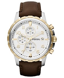 Fossil Men's Chronograph Dean Brown Leather Strap Watch 45mm