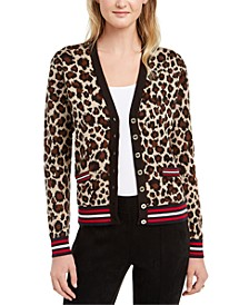 Leopard-Print V-Neck Button Cardigan
