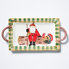 Vietri Old St. Nick Handled Rectangular Platter - Turkey