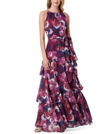 Tahari ASL Tiered Printed Maxi Dress