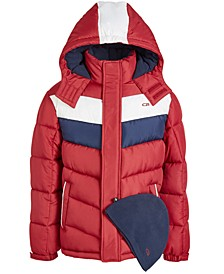 Big Boys 2-Pc. Colorblocked Puffer Jacket & Hat Set