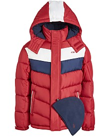 CB Sports Big Boys 2-Pc. Colorblocked Puffer Jacket & Hat Set