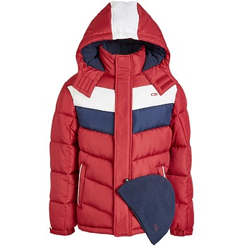 CB Sports Big Boys 2-Piece Colorblocked Puffer Jacket & Hat Set