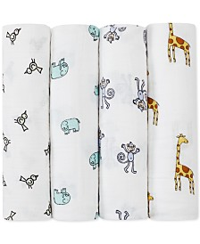 aden by aden + anais Baby Boys Girls 4-Pk. Jungle Jam Classic Cotton Swaddles