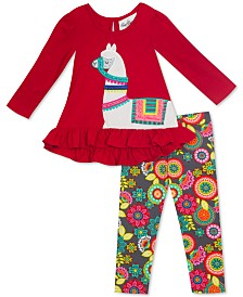 Rare Editions Baby Girls Llama Tunic & Floral-Print Leggings Set