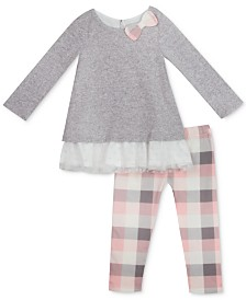 Rare Editions Baby Girls 2-Pc. Hacci Tunic & Plaid Leggings Set