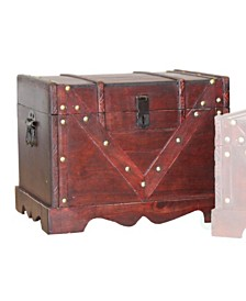 Vintiquewise Large Wooden Treasure Box, Old Style Decorative Treasure Chest