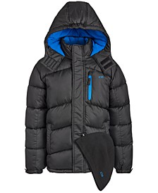 Little Boys 2-Pc. Puffer Jacket & Hat Set