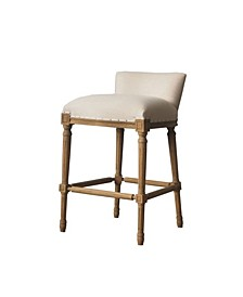 Francesca Stool Wooden Barstool with Linen Seat and Back