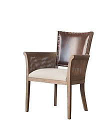Amelia Arm Chair with Leather Back