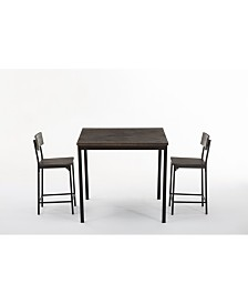 Boraam Americano Collection 3 Piece Counter Height Dining Set, Table and 2 Counter Stools