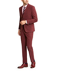 Men's Slim-Fit Stretch Red Dobby Tech Suit