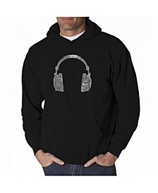 Men's Word Art Hoodie - Headphones - 63 Genres of Music