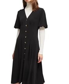 French Connection Serafina Button-Front Fit & Flare Dress