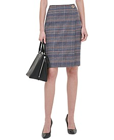 Petite Plaid Tweed Pencil Skirt