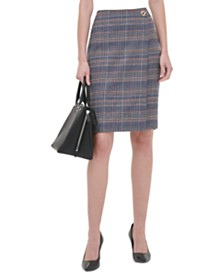 Calvin Klein Petite Plaid Tweed Pencil Skirt