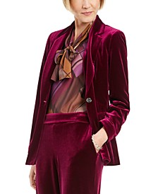Velvet Notched-Lapel Blazer