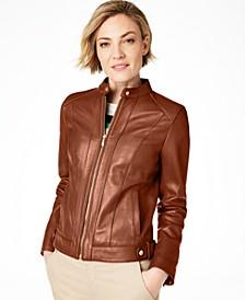 Petite Snap-Neck Leather Moto Jacket